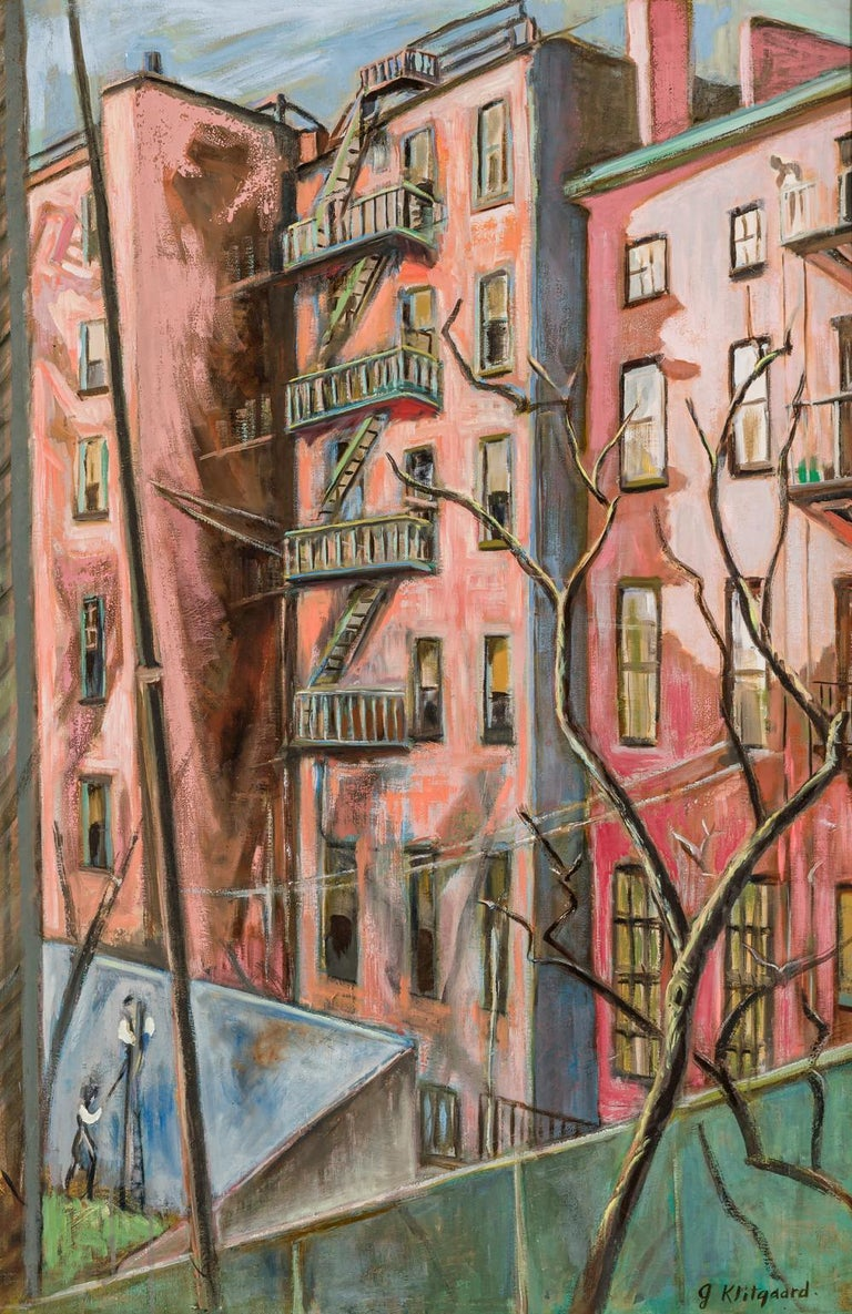 "Georgina Klitgaard Landscape Painting - ""Backyards"" WPA New York Modernism Female Artist Mid-Century 20th Century Modern"