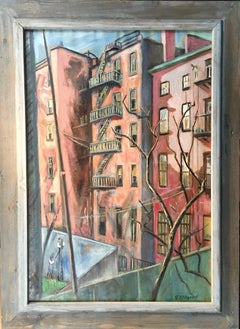 """Backyards"" WPA New York Modernism Female Artist Mid-Century 20th Century Modern"