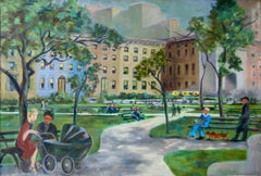 """War Brides, Wash Sq NYC"" American Scene WWII Modernism WPA Mid-Century Oil"