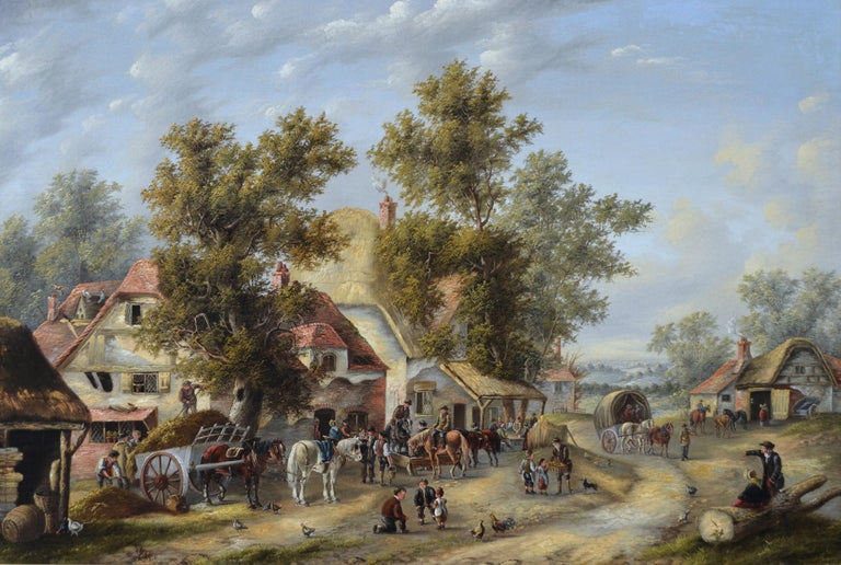 19th Century landscape oil painting of a busy village - Painting by Georgina Lara
