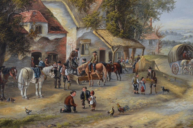19th Century landscape oil painting of a busy village - Victorian Painting by Georgina Lara