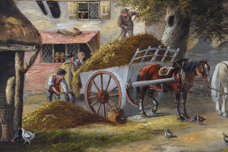 19th Century landscape oil painting of a busy village - Brown Landscape Painting by Georgina Lara