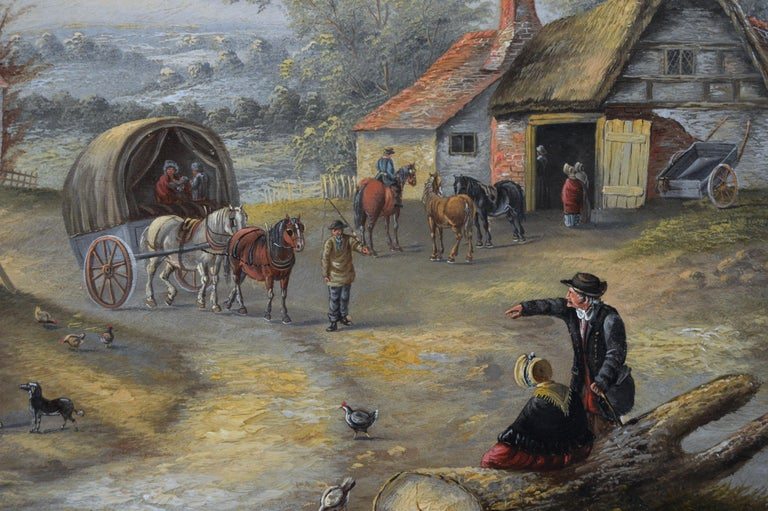 Georgina Lara British, (fl. 1862-1871) Bustling Village Life Oil on canvas, signed Image size: 19.5 inches x 29.5 inches  Size including frame: 25.5 inches x 35.5 inches   Georgina Lara also known as Edwina Lara was a London painter of rustic