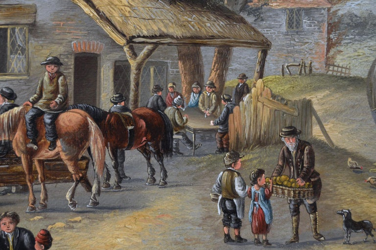 19th Century landscape oil painting of a busy village For Sale 1