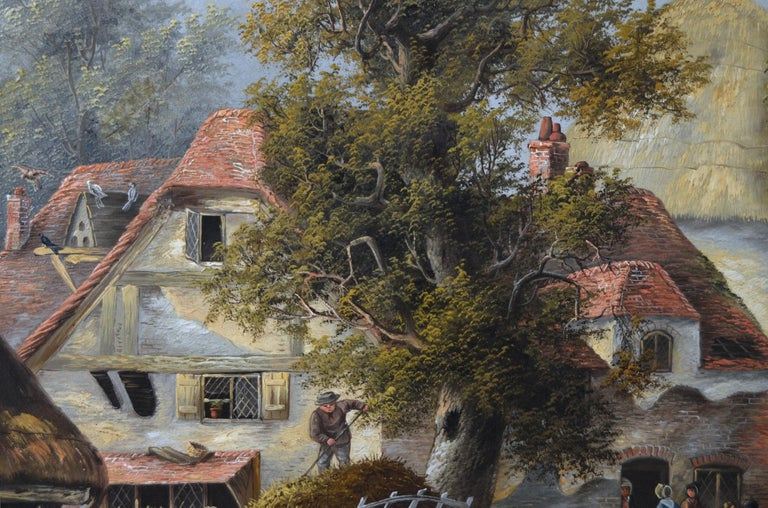 19th Century landscape oil painting of a busy village For Sale 2