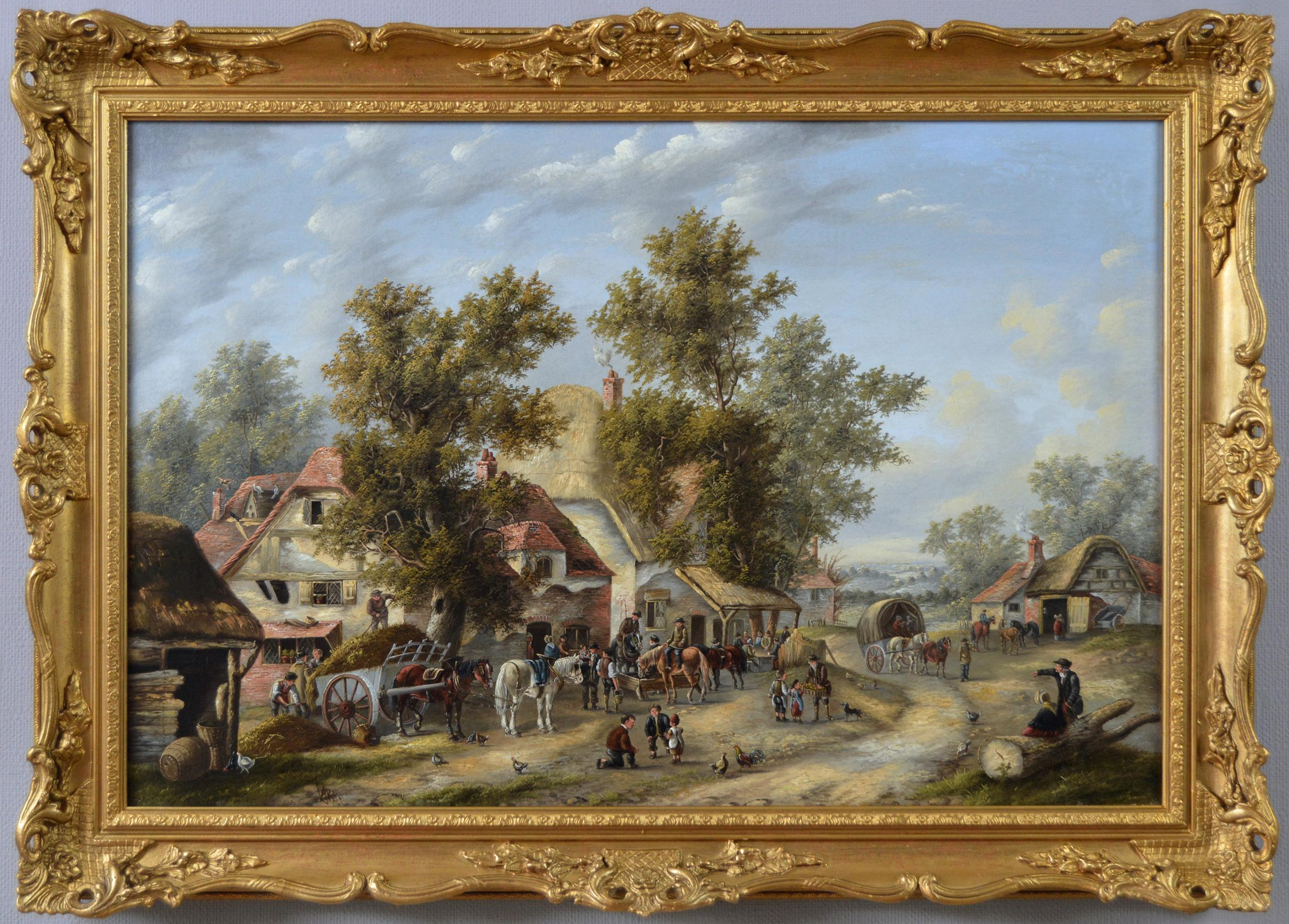 19th Century landscape oil painting of a busy village