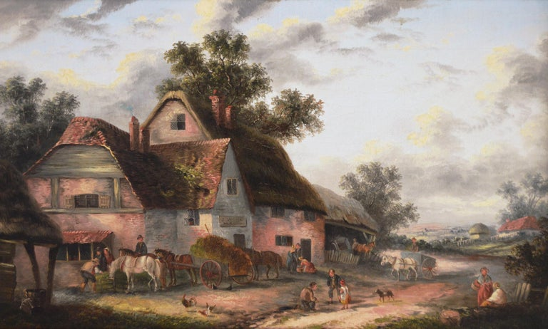 19th Century landscape oil painting of a village - Painting by Georgina Lara