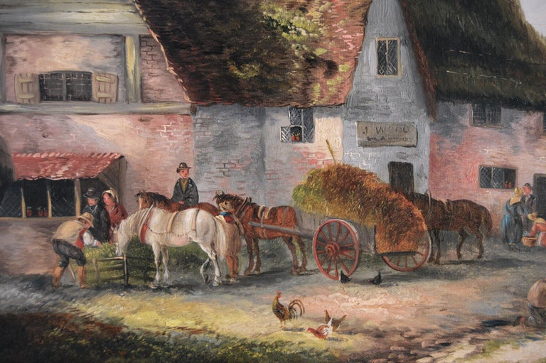 19th Century landscape oil painting of a village - Victorian Painting by Georgina Lara