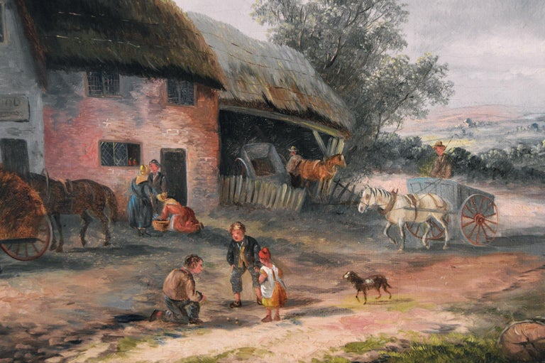 19th Century landscape oil painting of a village - Brown Landscape Painting by Georgina Lara