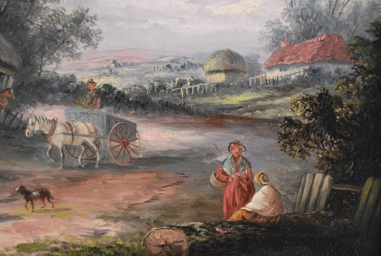 Georgina Lara British, (fl. 1862-1871) A Busy Village Oil on canvas Image size: 11.25 inches x 19.25 inches  Size including frame: 16.25 inches x 24.25 inches Provenance: Cooling Galleries, Bond Street, London   Georgina Lara also known as Edwina