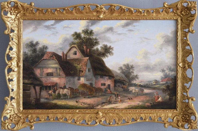 Georgina Lara Landscape Painting - 19th Century landscape oil painting of a village