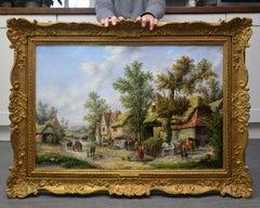 Midsummer - 19th Century Landscape Oil Painting of Victorian Village
