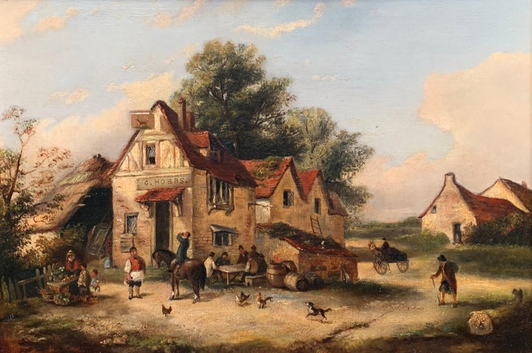 The Village Inn Victorian Oil Painting Gilt Framed Many Figures Chickens & Dog - Brown Animal Painting by Georgina Lara