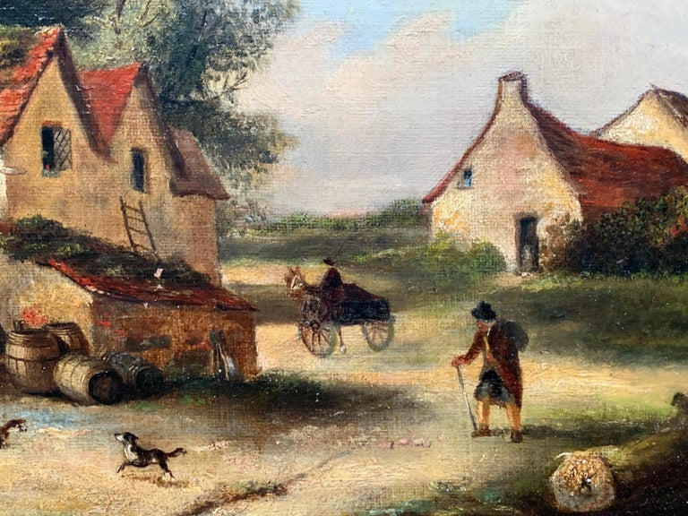 The Village Inn Victorian Oil Painting Gilt Framed Many Figures Chickens & Dog For Sale 1
