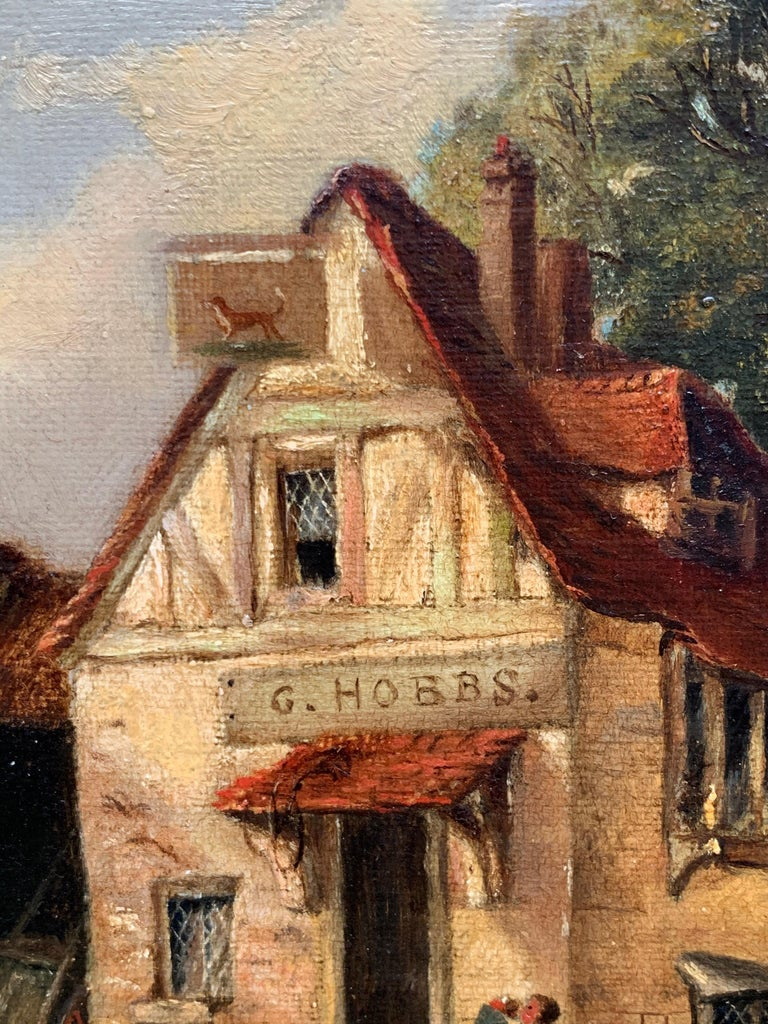 The Village Inn Victorian Oil Painting Gilt Framed Many Figures Chickens & Dog For Sale 2