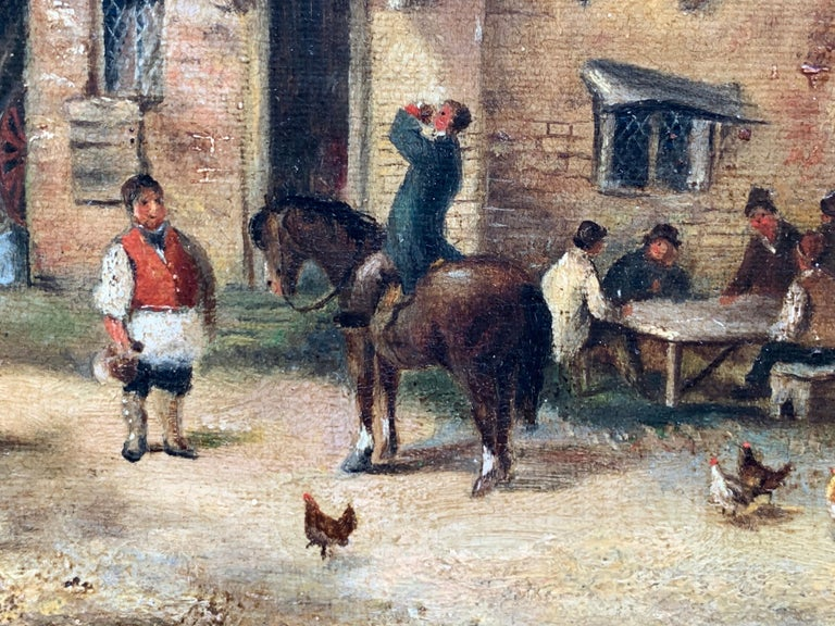 The Village Inn Victorian Oil Painting Gilt Framed Many Figures Chickens & Dog For Sale 3