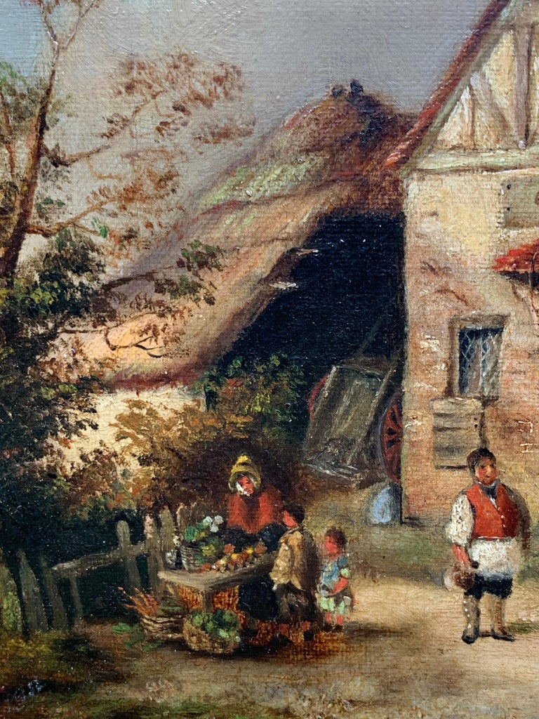 The Village Inn Victorian Oil Painting Gilt Framed Many Figures Chickens & Dog For Sale 4