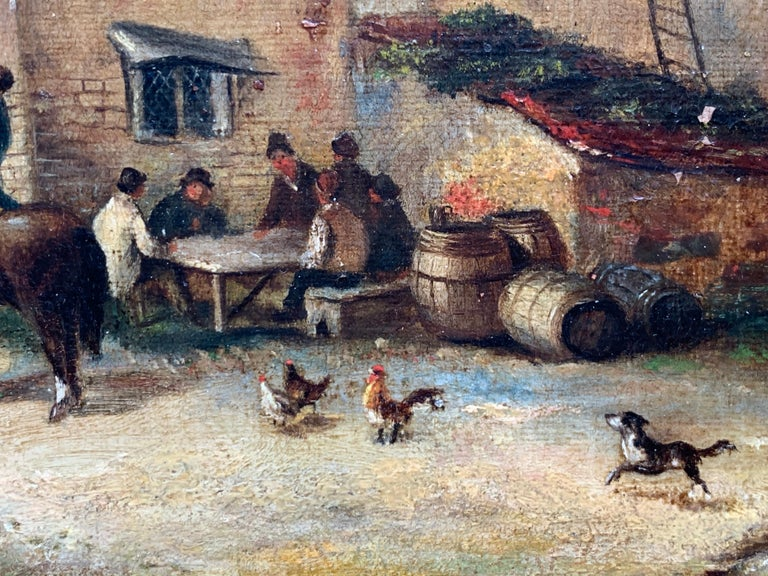 The Village Inn Victorian Oil Painting Gilt Framed Many Figures Chickens & Dog For Sale 5