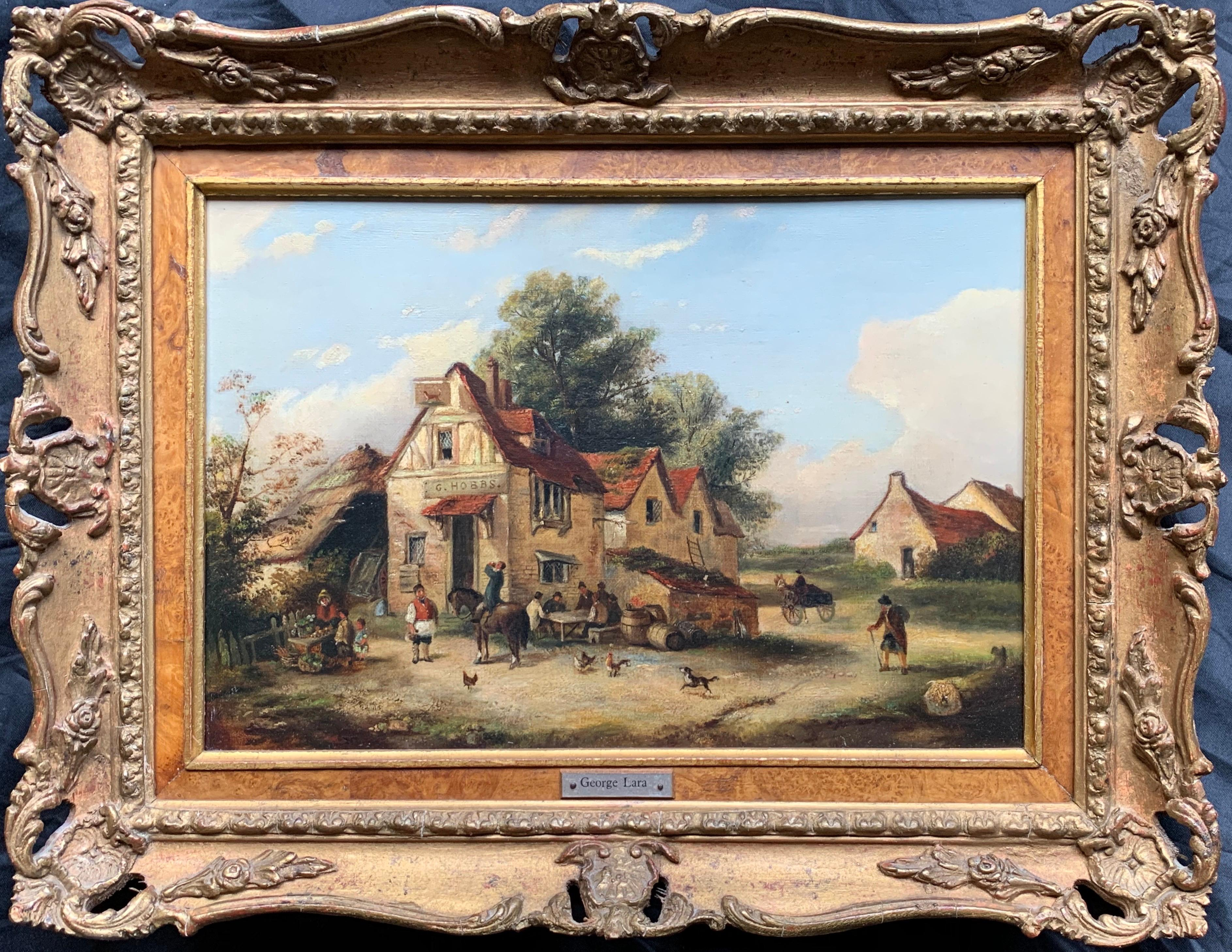 The Village Inn Victorian Oil Painting Gilt Framed Many Figures Chickens & Dog