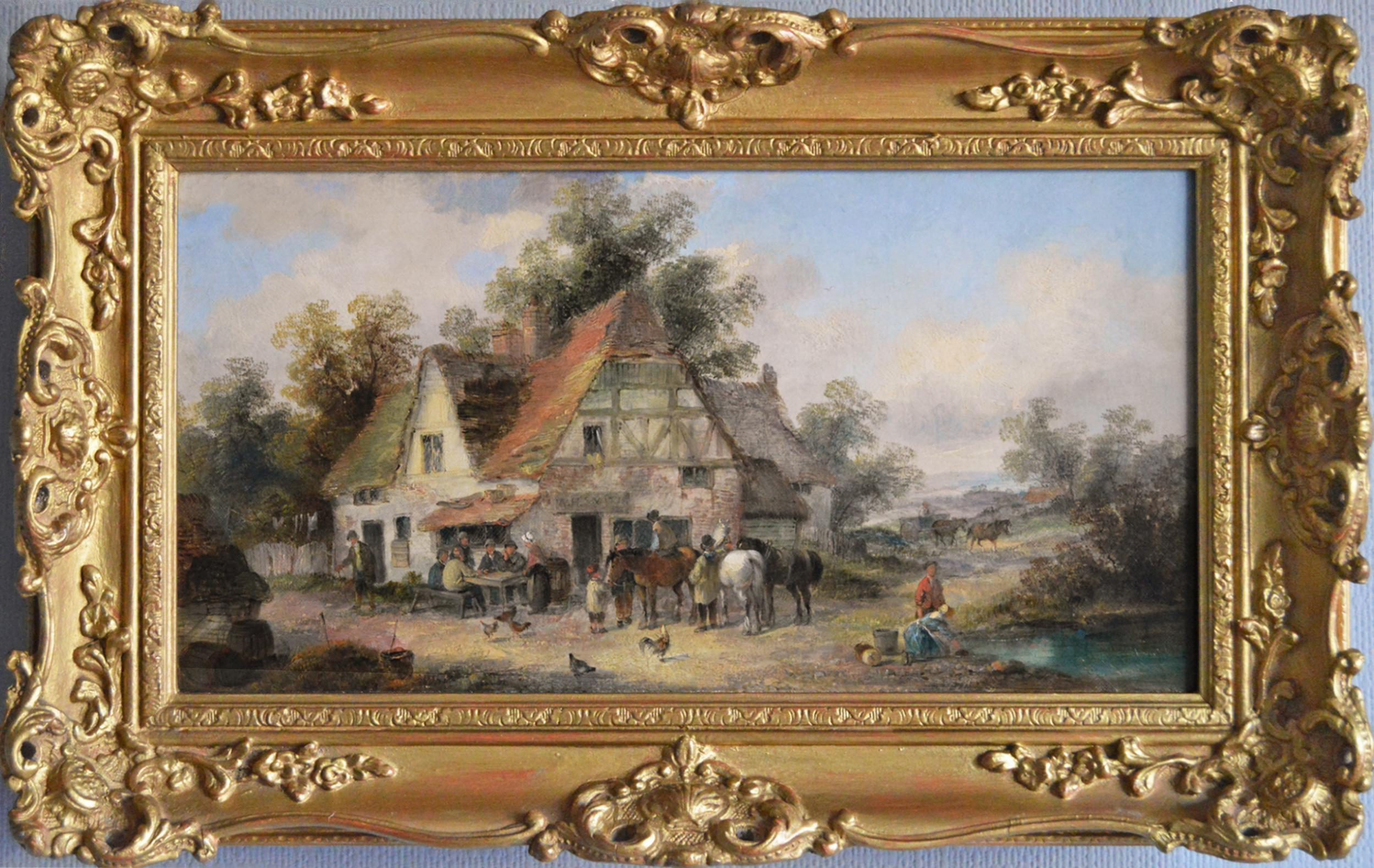 19th Century landscape oil painting of a village