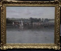Flushing Cornwall -British Impressionist 19thC oil painting river female artist