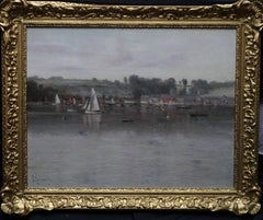 River Fal Flushing Cornwall - British Impressionist art 19thC oil painting