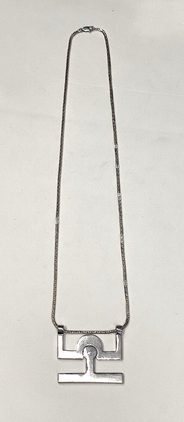 Georgio Gucci Silver Pendant Necklace, 1970s In Good Condition For Sale In New York, NY