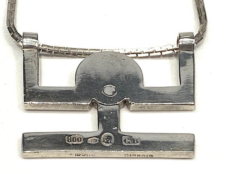 Georgio Gucci Silver Pendant Necklace, 1970s For Sale 5