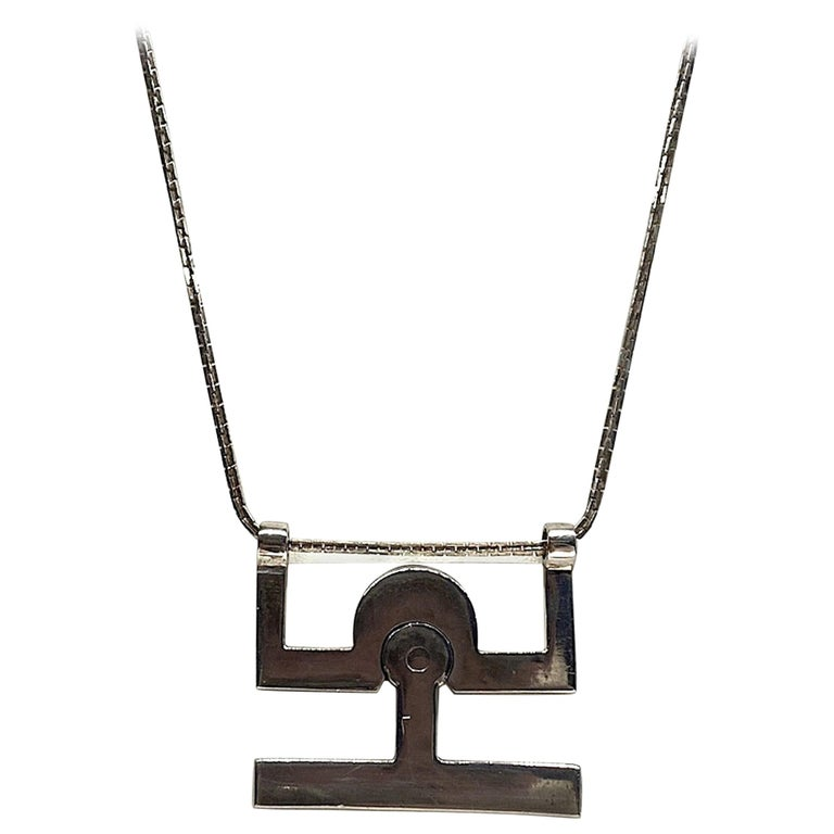 Georgio Gucci Silver Pendant Necklace, 1970s For Sale