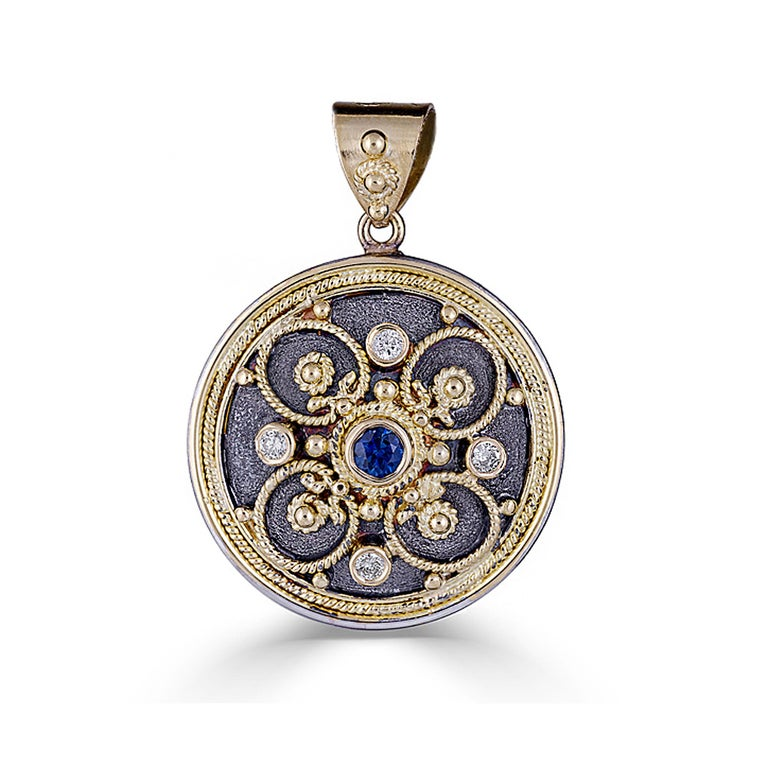 Georgios Collection 18 Karat Gold Byzantine Pendant With Diamonds And Rhodium  In New Condition For Sale In Astoria, NY
