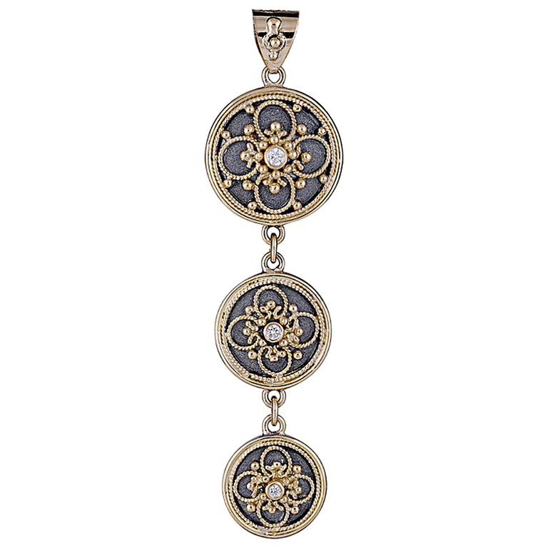 Georgios Collection 18 Karat Gold Byzantine Pendant With Diamonds And Rhodium  For Sale