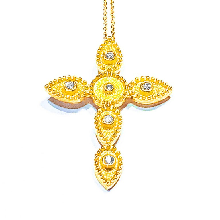 Byzantine Georgios Collections 18 Karat Gold Diamond Cross With Chain and Granulation work For Sale