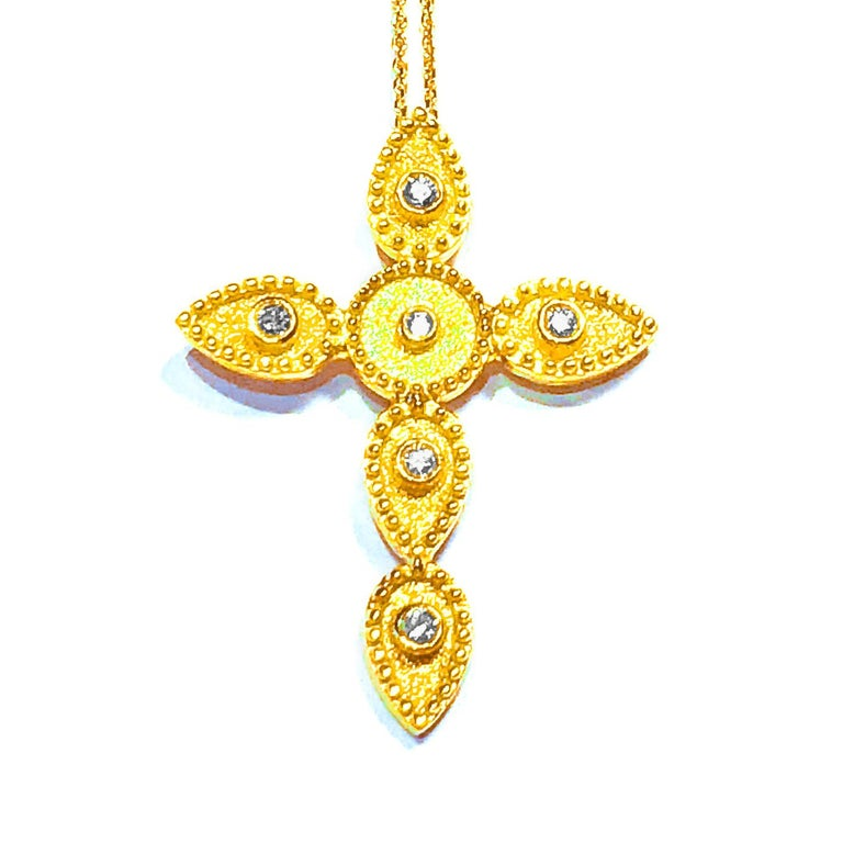 Women's or Men's Georgios Collections 18 Karat Gold Diamond Cross With Chain and Granulation work For Sale