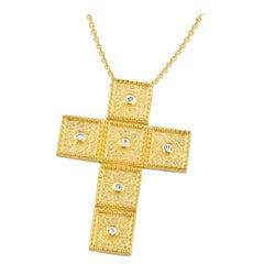 Georgios Collection 18 Karat Gold Diamond Cross with Chain and Granulation Work