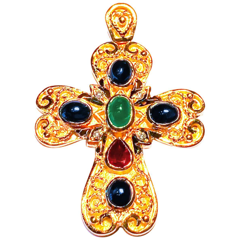 Georgios Collection 18 Karat Gold Diamond, Emerald, Sapphire and Ruby Cross