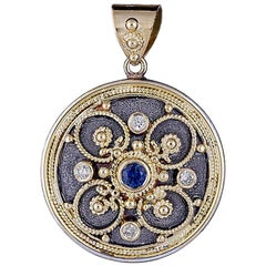 Georgios Collection 18 Karat Gold Diamond Pendant With Granulation & Rhodium