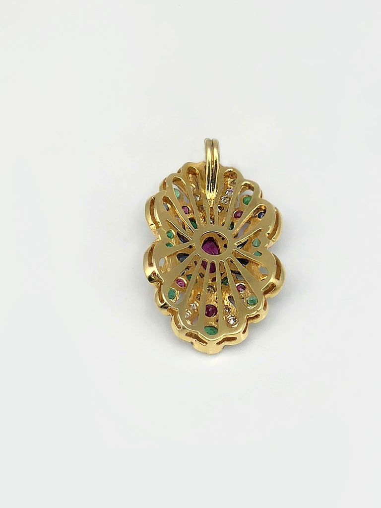 Round Cut Georgios Collection 18 Karat Gold Diamond Pendant with Sapphires Rubies Emerald For Sale