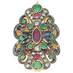 Georgios Collection 18 Karat Gold Diamond Pendant with Sapphires Rubies Emerald