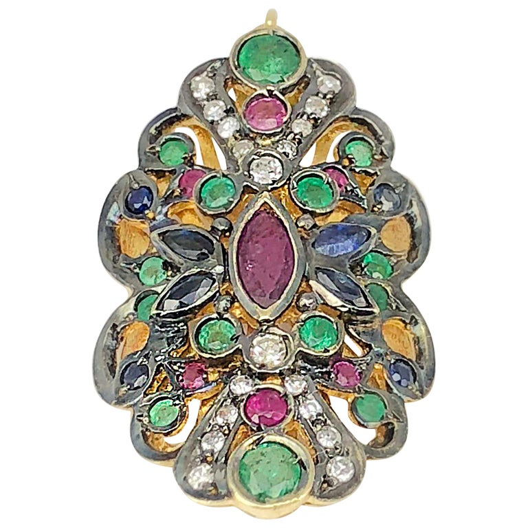 Georgios Collection 18 Karat Gold Diamond Pendant with Sapphires Rubies Emerald For Sale