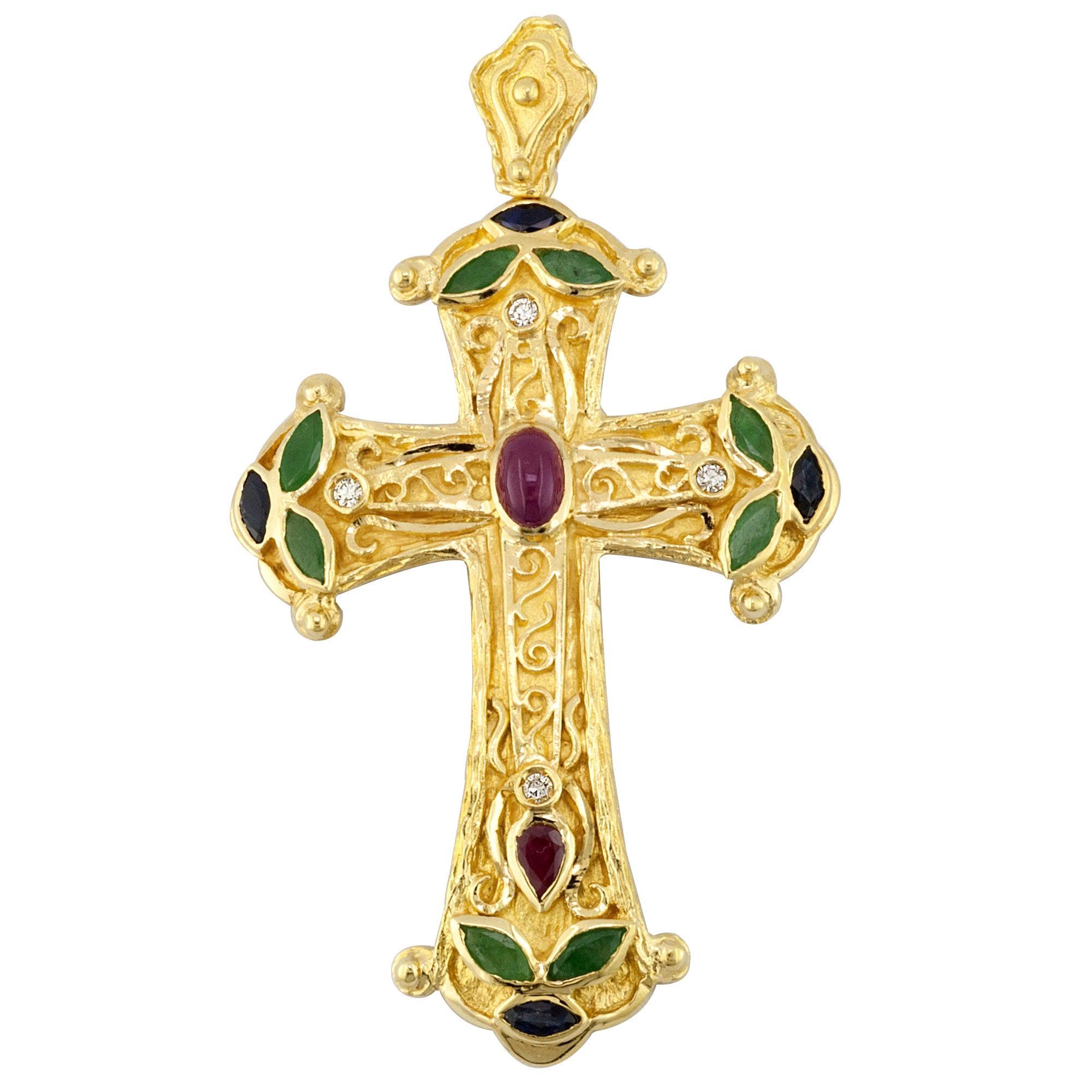 Georgios Collections 18 Karat Gold Multi Color Ruby Diamond, Emerald Cross