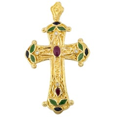 Georgios Collections 18 Karat Gold Multi Color Ruby Diamond, Emerald Cross