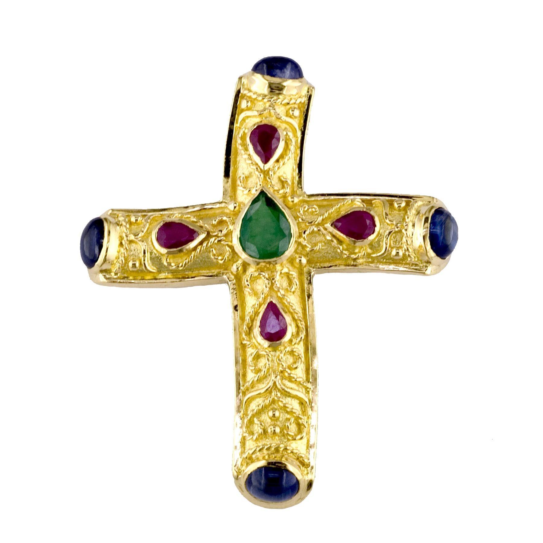Georgios Collection 18 Karat Gold Emerald, Ruby, Sapphire Byzantine Cross
