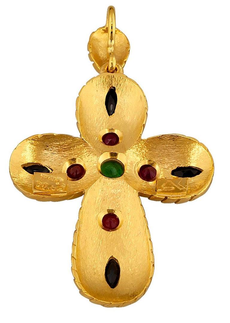 Georgios Collection 18 Karat Gold Emerald, Sapphire, Rubies Multi-Color Cross For Sale 5