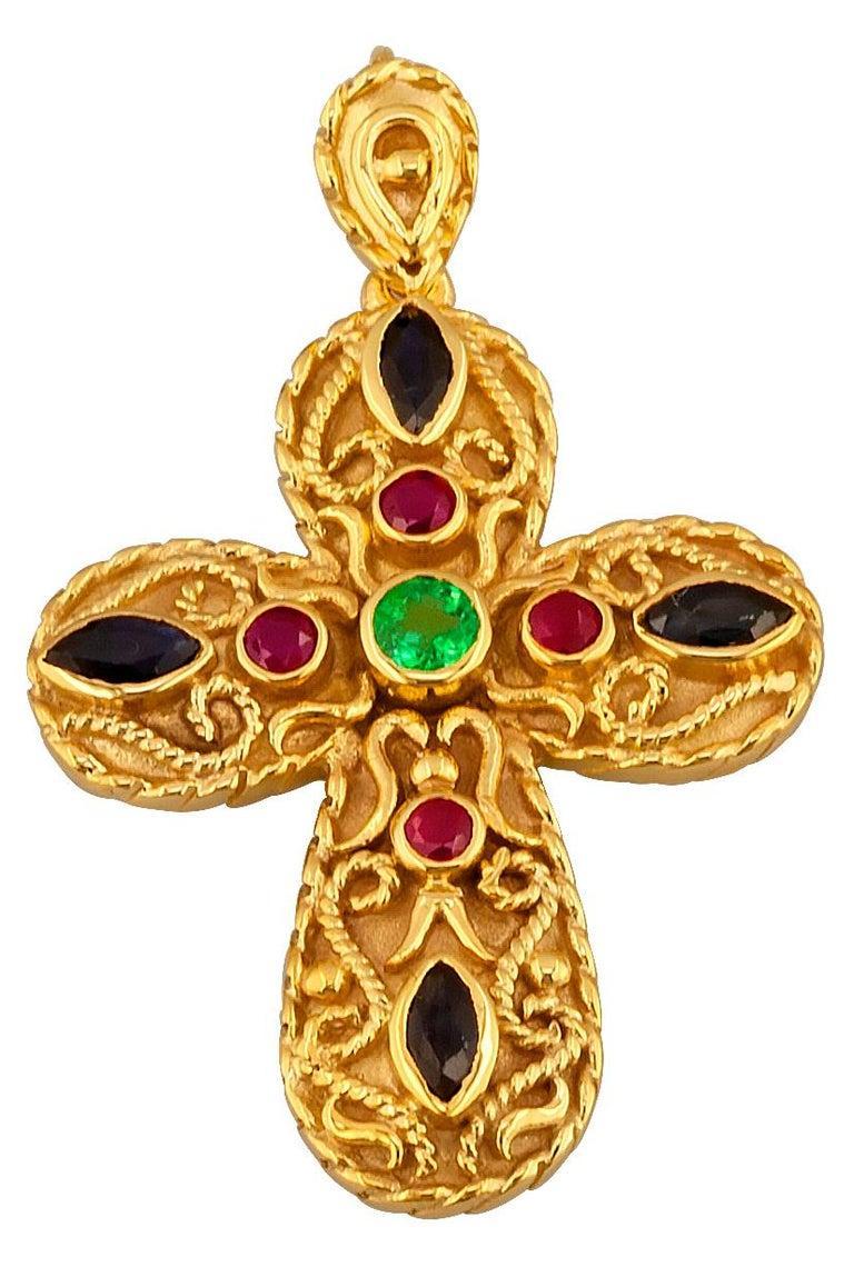 Georgios Collection 18 Karat Gold Emerald, Sapphire, Rubies Multi-Color Cross For Sale 1