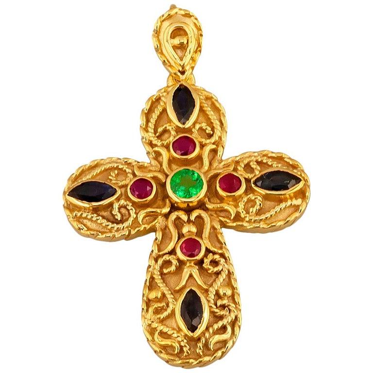 Georgios Collection 18 Karat Gold Emerald, Sapphire, Rubies Multi-Color Cross For Sale