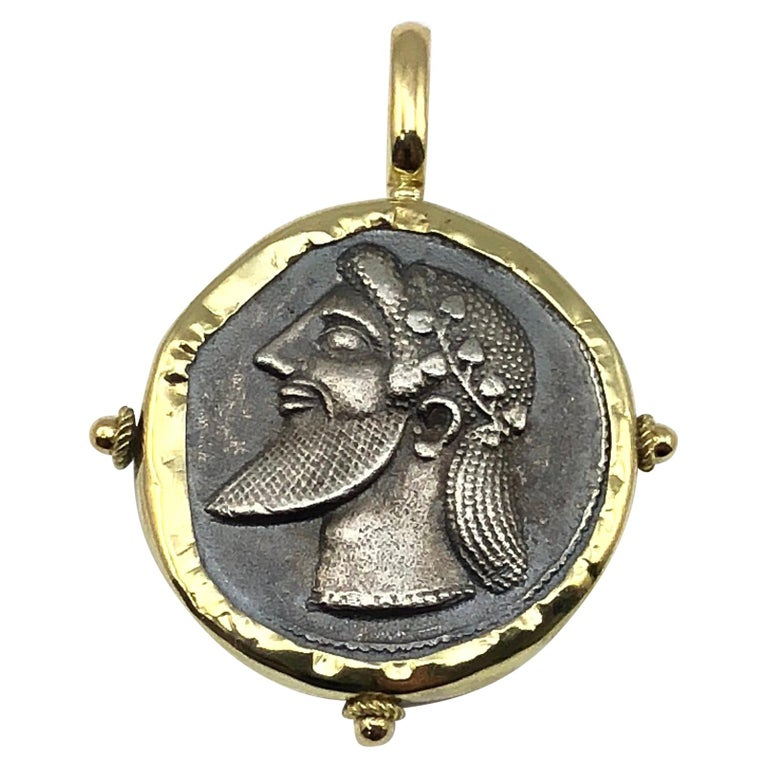 Georgios Collection 18 Karat Gold Pendant Necklace with Silver Coin of Dionisos  For Sale