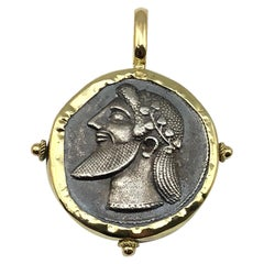 Georgios Collections 18 Karat Gold Pendant Necklace with Silver Coin of Dionisos