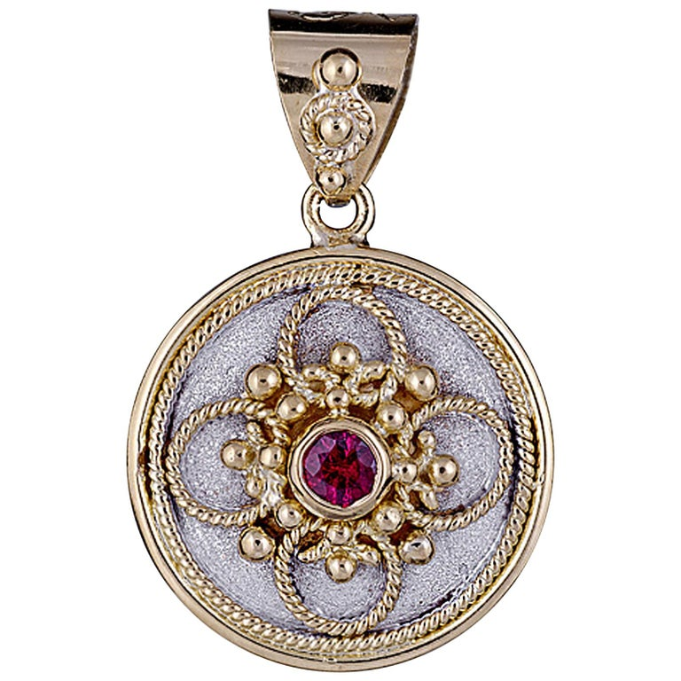 Georgios Collection 18 Karat Gold Ruby Pendant with Granulation and Rhodium  For Sale