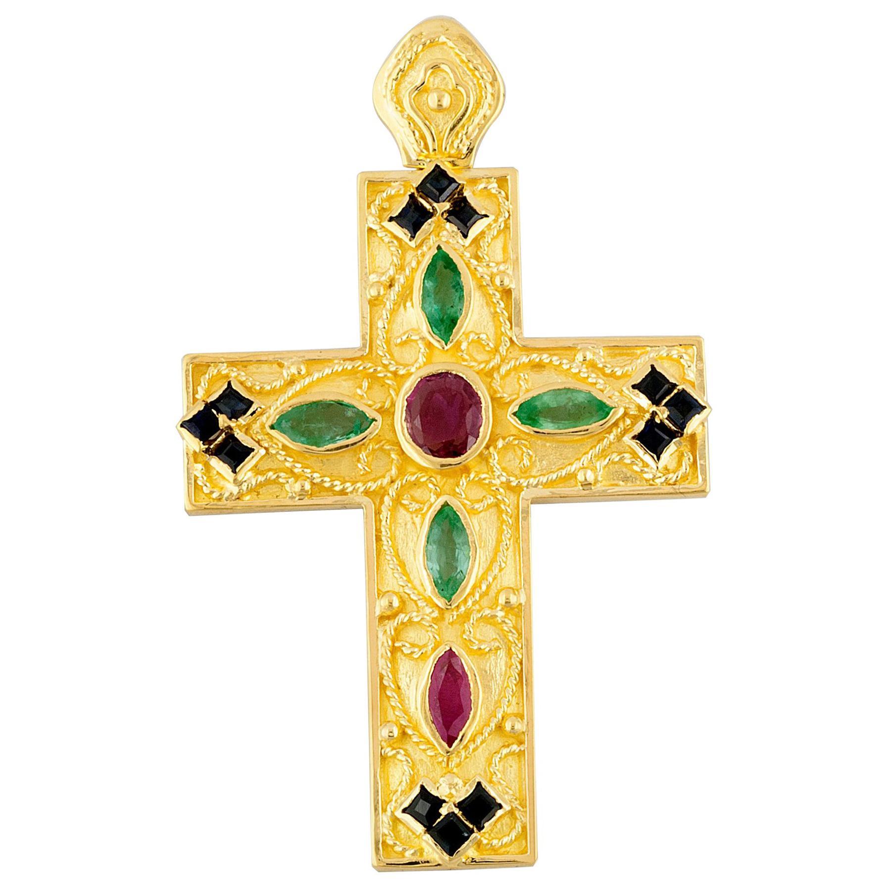 Georgios Collection 18 Karat Gold Ruby, Sapphire and Emerald Byzantine Cross