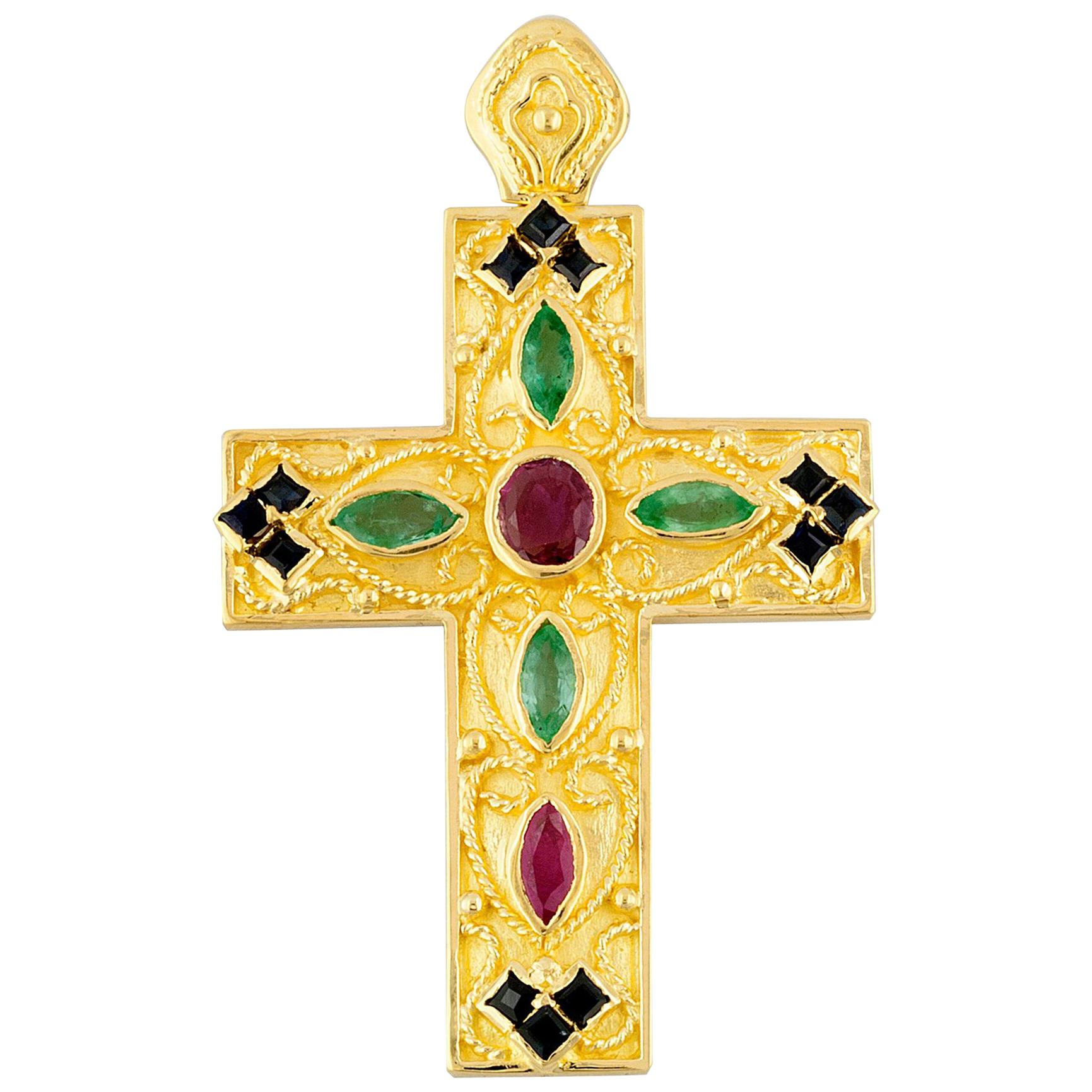 Georgios Collection 18 Karat Gold Ruby, Sapphire and Emerald Multi-Color Cross